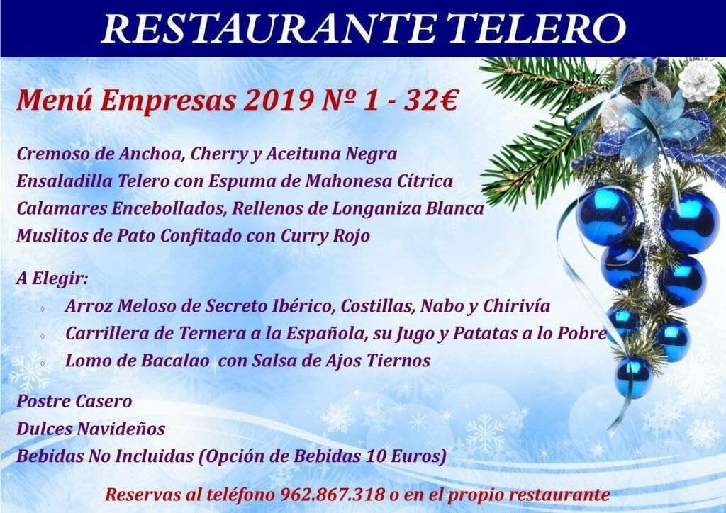 Menú Empresas Navidad 2019 Nº1 - Restaurante Telero Gandia
