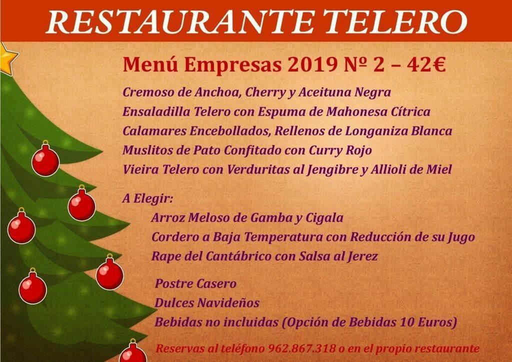 Menú Empresas Nº 2 Navidad 2019 - Restaurante Telero Gandia