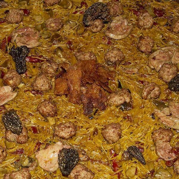 Fideua de setas , pato y foie - Restaurante Telero Gandia