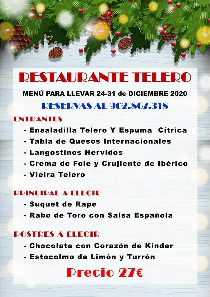 Menu para llevar 2020 - Restaurante Telero Gandia